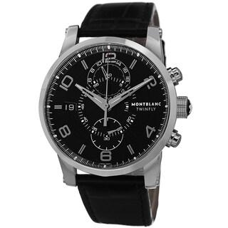 Mont Blanc Men's 105077 'Time walker' Black Dial Black Leather Strap Chronograph Swiss Automatic Wat