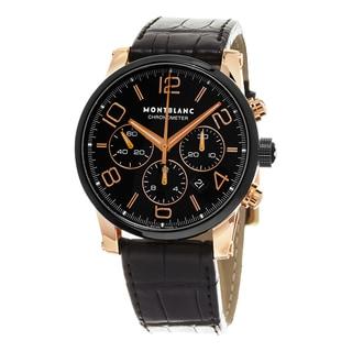 Mont Blanc Men's 104688 'Time walker Chronometer' Black Dial Black Leather Strap Rose Gold Swiss Aut