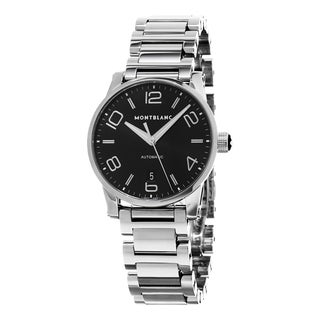 Mont Blanc Men's 105962 'Time walker' Black Dial Stainless Steel Bracelet Swiss Automatic Watch