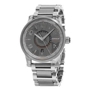 Mont Blanc Men's 108956 'Time walker Hemispheres' Grey Dial Stainless Steel/Titanium GMT Swiss Automatic Watch