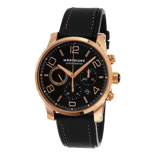 Mont Blanc Men's 106504 'Time walker Chronometer' Black Dial Black Leather Strap Rose Gold Swiss Automatic Watch