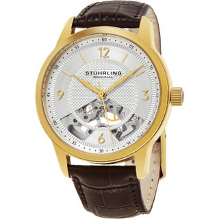 Stuhrling Original Men's Mechanical Legacy Skeleton Leather Strap Watch (3 options available)