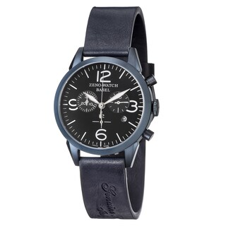 Zeno Men's 4773Q-BL-A1 'Vintage Line' Black Dial Blue Leather Strap Chronograph Swiss Quartz Watch