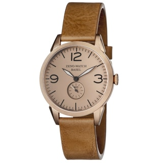 Zeno Men's 4772Q-PGR-A6-1 'Vintage Line' Rosetone Dial Beige Leather Strap Swiss Quartz Watch