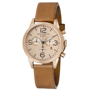 Zeno Men's 4773Q-PRG-A6-1 'Vintage Line' Rosetone Dial Beige Leather Strap Chronograph Swiss Quartz Watch