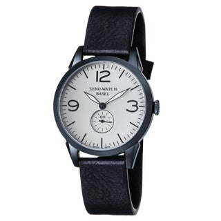 Zeno Men's 4772Q-BL-A3-1 'Vintage Line' Silver Dial Blue Leather Strap Swiss Quartz Watch
