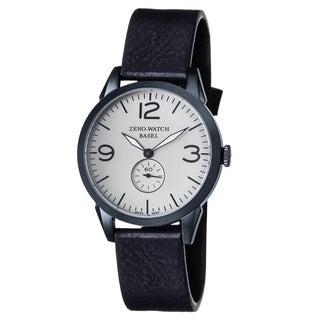 Zeno Men's 4772Q-BL-A3-1 'Vintage Line' Silver Dial Blue Leather Strap Swiss Quartz Watch