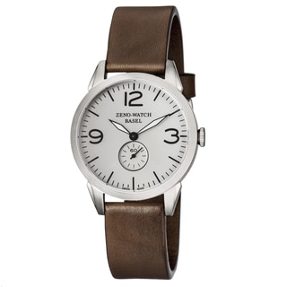 Zeno Men's 4772Q-A3-1 'Vintage Line' Silver Dial Brown Leather Swiss Quartz Watch