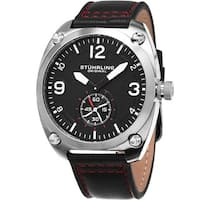 Stuhrling Original Men's Quartz Sport Leather Strap Watch