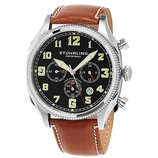 Stuhrling Original Men's Quartz Chronograph Leather Strap Watch