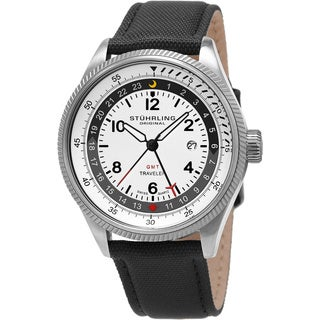 Stuhrling Original Men's Swiss Quartz World Time Canvas Strap Watch