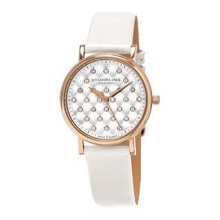Stuhrling Original Women's Swiss Quartz Leather Strap Austrian Crystal Watch