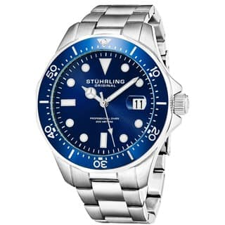 Stuhrling Original Men's Quartz Regatta Stainless Steel Divers Bracelet Watch|https://ak1.ostkcdn.com/images/products/10561300/P17639343.jpg?impolicy=medium
