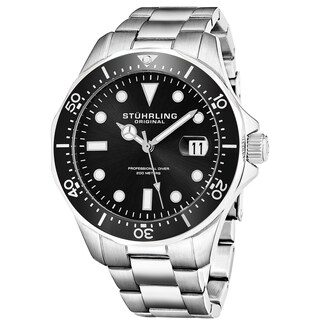 Stuhrling Original Men's Quartz Regatta Stainless Steel Divers Bracelet Watch