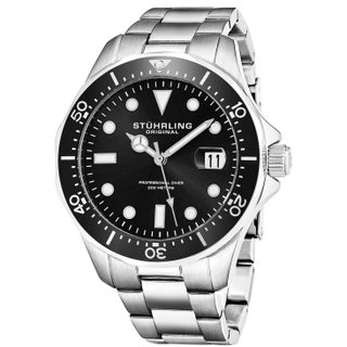 Stuhrling Original Men's Quartz Regatta Stainless Steel Divers Bracelet Watch (Option: Black)