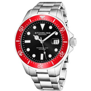 Stuhrling Original Men's Quartz Regatta Stainless Steel Divers Bracelet Watch (Option: Red)