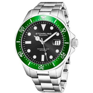 Stuhrling Original Men's Quartz Regatta Stainless Steel Divers Bracelet Watch (Option: Green)