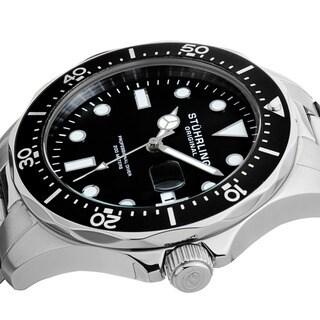 Stuhrling Original Men's Quartz Regatta Stainless Steel Divers Bracelet Watch