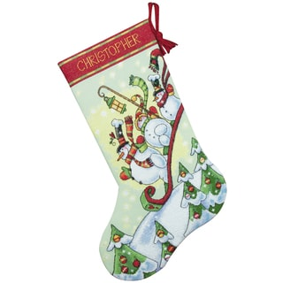 Sledding Snowmen Stocking Counted Cross Stitch Kit16in Long 14 Count