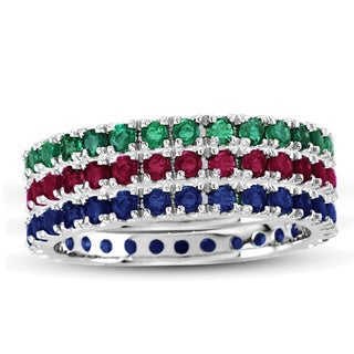 Suzy Levian 14K White Gold Emerald Ruby Sapphire Eternity Band Ring (Set of 3)