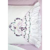 Stamped Ruffled Edge Pillowcases 30inX20in 2/PkgSomba Lady