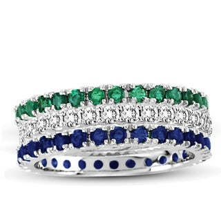 Suzy Levian 14K White Gold Diamond Emerald Sapphire Eternity Band Ring (Set of 3)
