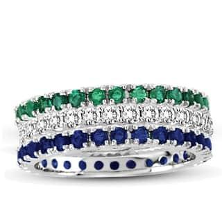 Suzy Levian 14K White Gold Diamond Emerald Sapphire Eternity Band Ring (Set of 3)|https://ak1.ostkcdn.com/images/products/10561341/P17639411.jpg?impolicy=medium