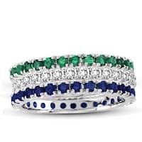 Suzy Levian 14K White Gold Diamond Emerald Sapphire Eternity Band Ring (Set of 3)