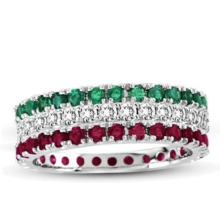 Suzy Levian 14K White Gold Diamond Ruby Emerald 3-piece Eternity Band Ring Set