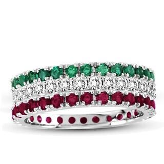 Suzy Levian 14K White Gold Diamond Ruby Emerald 3-piece Eternity Band Ring Set