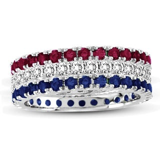 Suzy Levian 14K White Gold Set of 3 Diamond Ruby Sapphire Eternity Band Ring