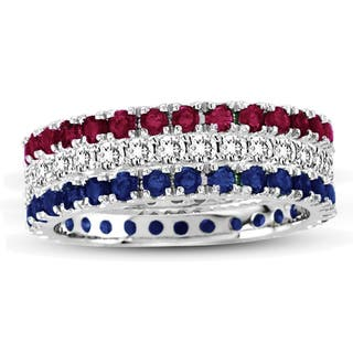 Suzy Levian White Gold Set Of 3 Diamond Ruby Sapphire Eternity Band Ring|https://ak1.ostkcdn.com/images/products/10561354/P17639413.jpg?impolicy=medium