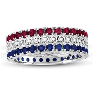 Suzy Levian White Gold Set Of 3 Diamond Ruby Sapphire Eternity Band Ring