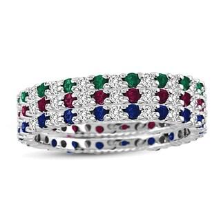 Suzy Levian 14K White Gold Diamond Sapphire Ruby Emerald 3-piece Eternity Band Ring Set