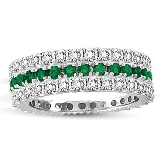 Suzy Levian White Gold Emerald Diamond 3-Piece Eternity Band Ring Set