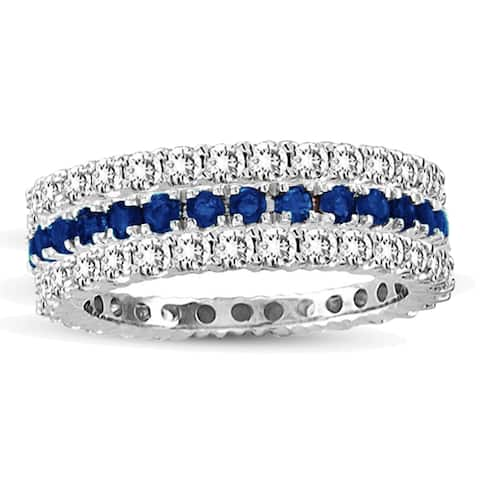 Suzy L. 14k White Gold Sapphire Diamond 3-piece Set Eternity Band Ring - Blue