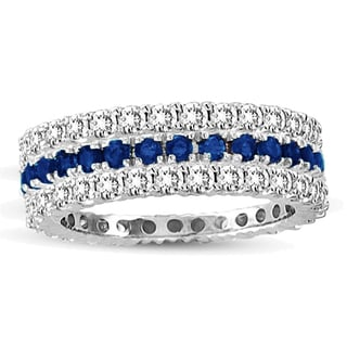 Suzy Levian 14k White Gold Sapphire Diamond 3-piece Set Eternity Band Ring