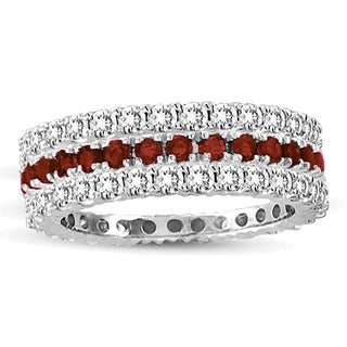 Suzy Levian 14k White Gold Ruby Diamond 3-piece Eternity Band Ring Set