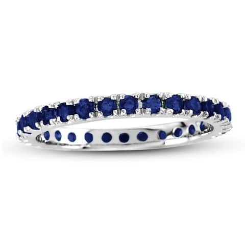 Suzy L. 14K White Gold Sapphire Eternity Band Ring - Blue