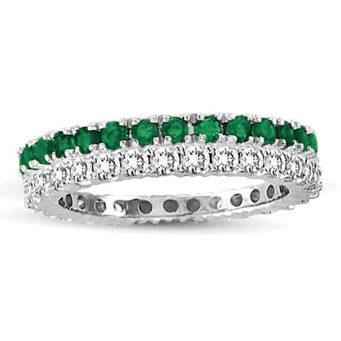 Suzy Levian 14k White Gold Emerald Diamond 2-piece Set Eternity Band Ring - Green