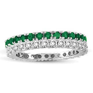 Suzy Levian 14k White Gold Emerald Diamond 2-piece Set Eternity Band Ring