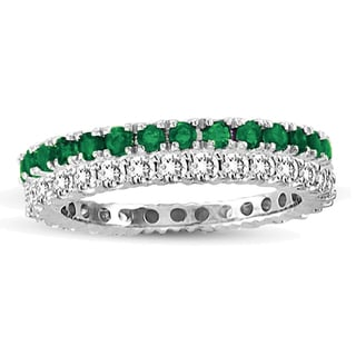 Suzy Levian White Gold Emerald Diamond 2-Piece Set Eternity Band Ring