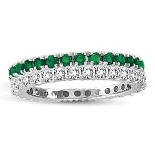 Suzy Levian White Gold Emerald Diamond 2-Piece Set Eternity Band Ring|https://ak1.ostkcdn.com/images/products/10561361/P17639419.jpg?impolicy=medium
