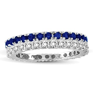 Suzy Levian 14k White Gold Sapphire Diamond 2-piece Eternity Band Ring Set