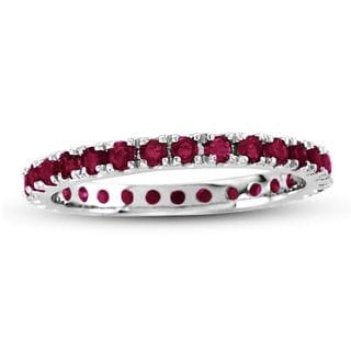 Suzy Levian 14K White Gold Ruby Eternity Band Ring