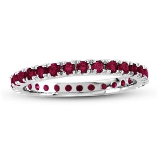 Suzy Levian 14K White Gold Ruby Eternity Band Ring - Red