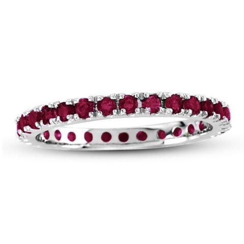 Suzy L. 14K White Gold Ruby Eternity Band Ring - Red