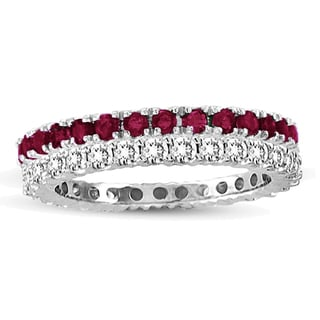 Suzy Levian 14k White Gold Ruby Diamond 2-piece Eternity Band Ring Set