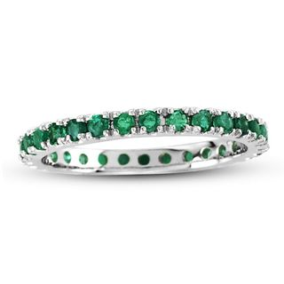 Suzy Levian 14K White Gold Emerald Eternity Band Ring
