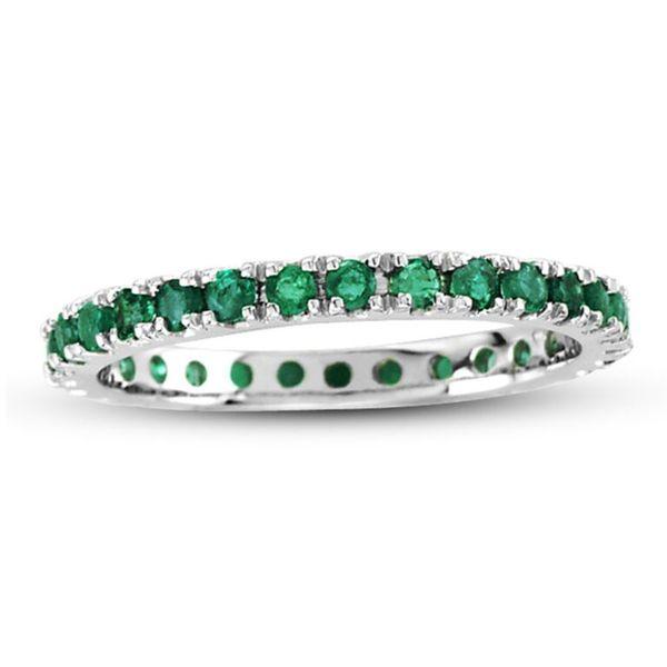 Suzy Levian 14K White Gold Emerald Eternity Band Ring